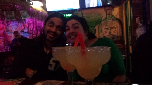 Sarah and Nipun at taco tuesday some time in december. The size of these margaritas!!